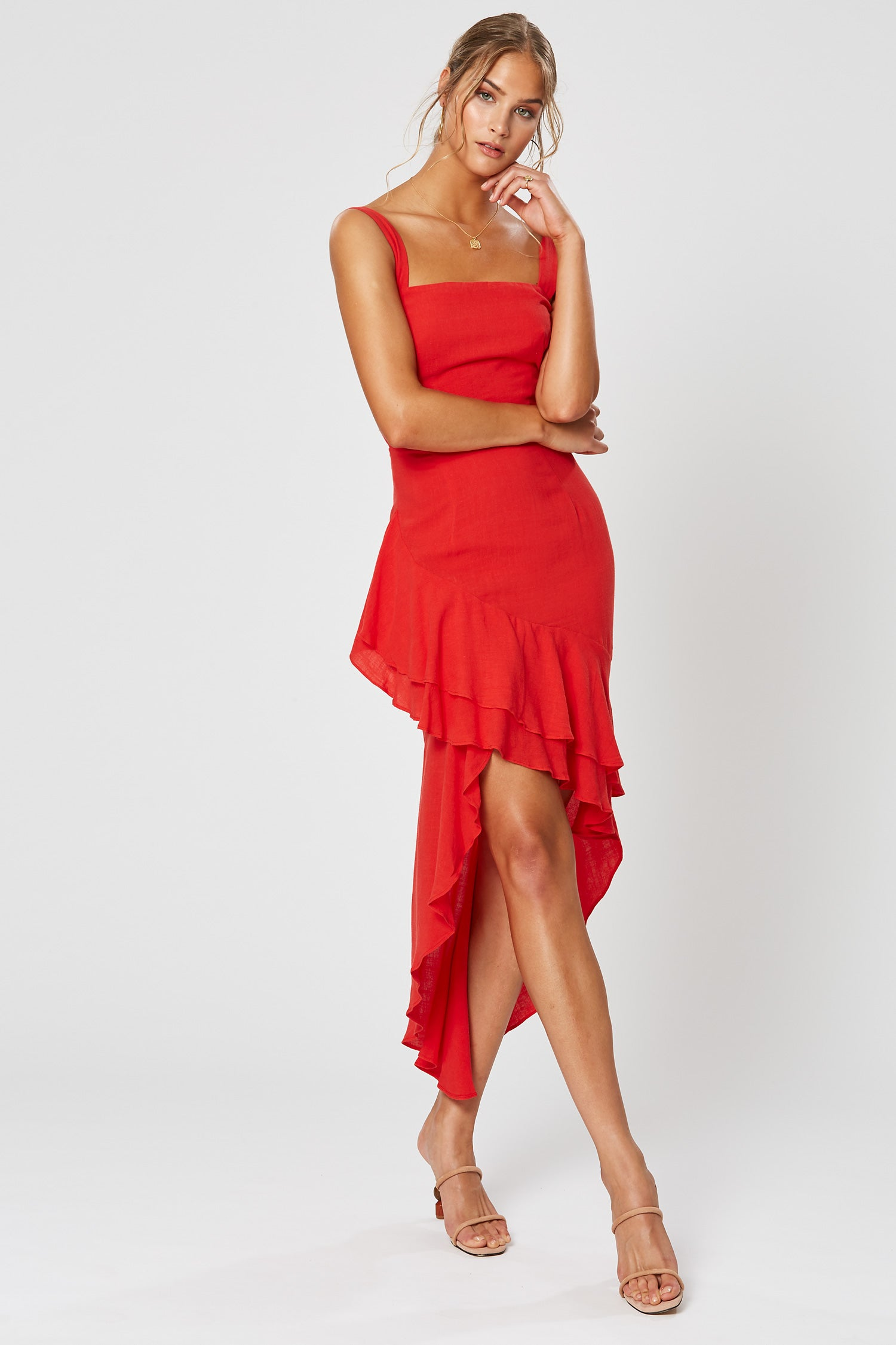 LIDIA ASYMMETRICAL DRESS RED