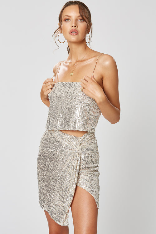 STELLA KNOT DRESS SILVER