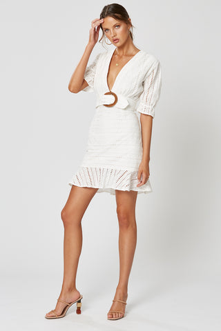 NEVADA ASYMMETRICAL DRESS WHITE