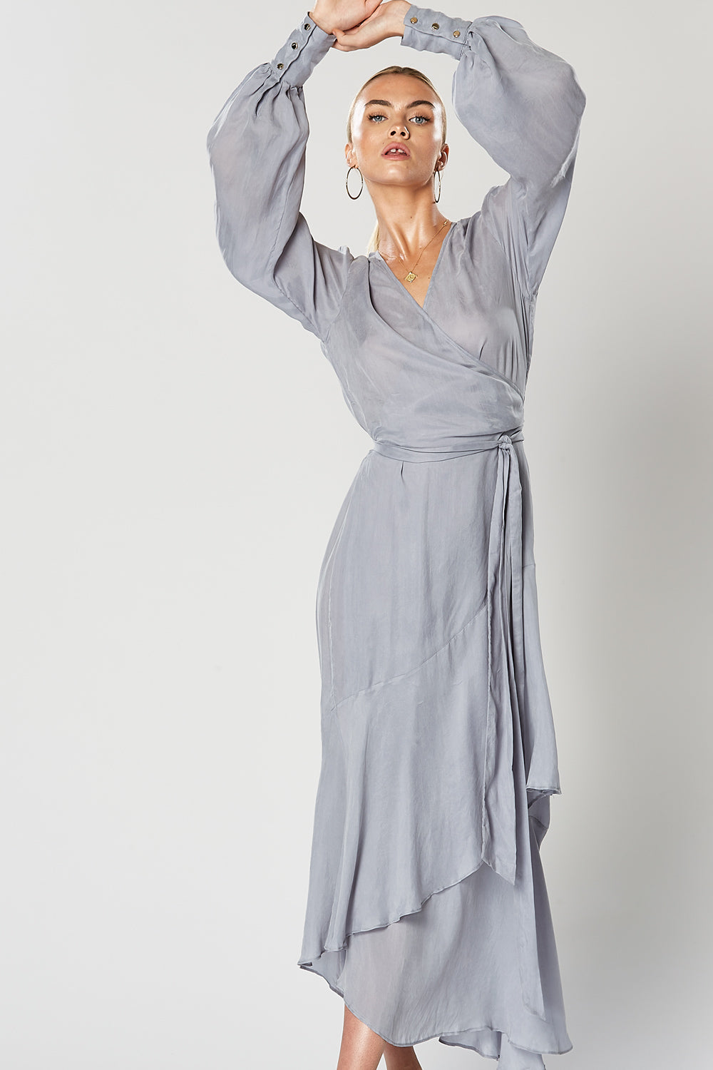 COSMO WRAP DRESS BLUE
