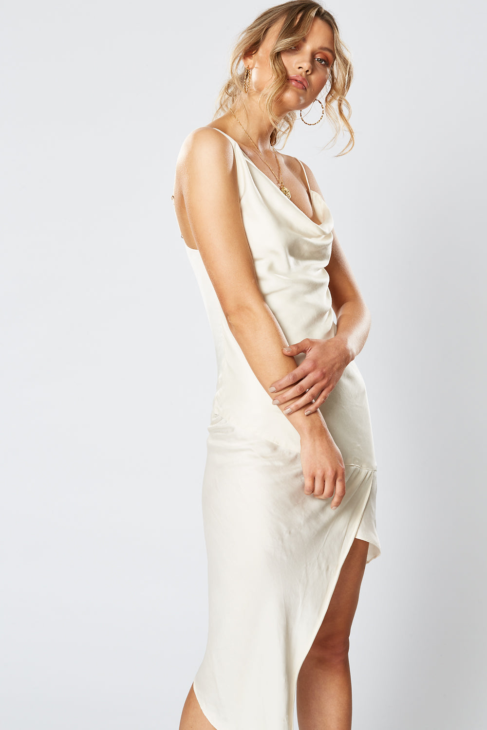 BRITANNIA ASYMMETRICAL DRESS PEARL