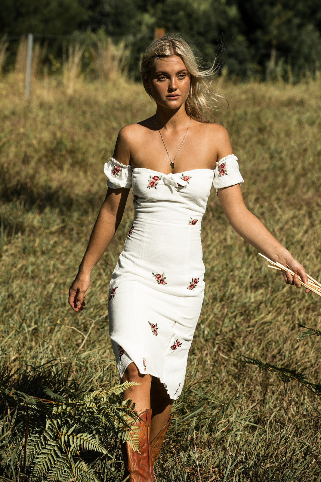 ENGLISH ROSE OFF THE SHOULDER DRESS