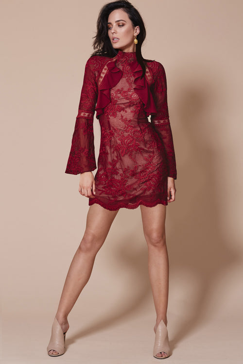 SORRENTO LONG SLEEVE DRESS WINE