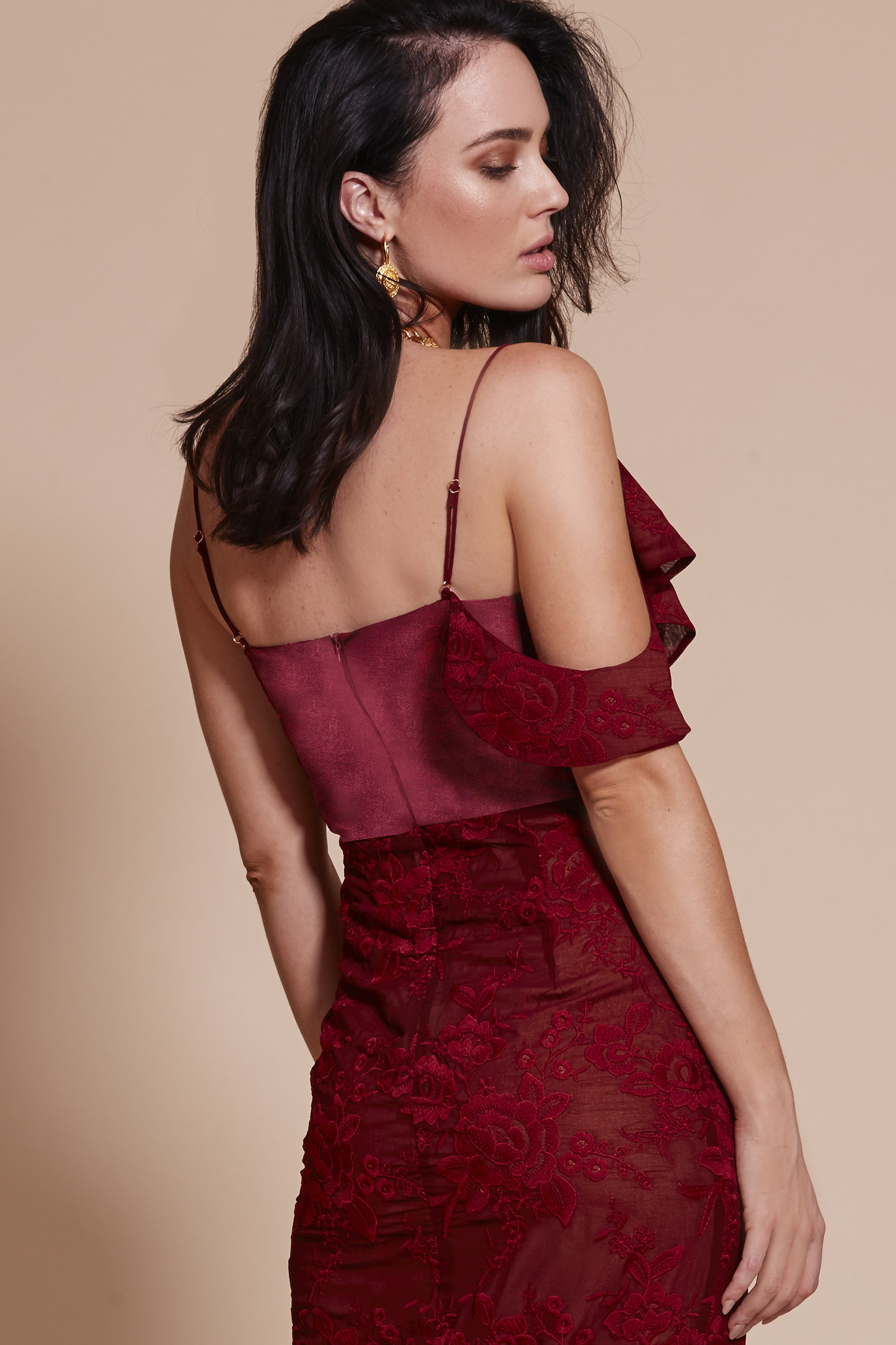 AMALFI OFF THE SHOULDER DRESS WINE