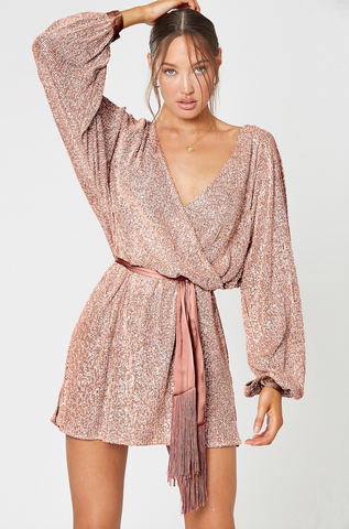 SUNBURST LONG SLEEVE DRESS