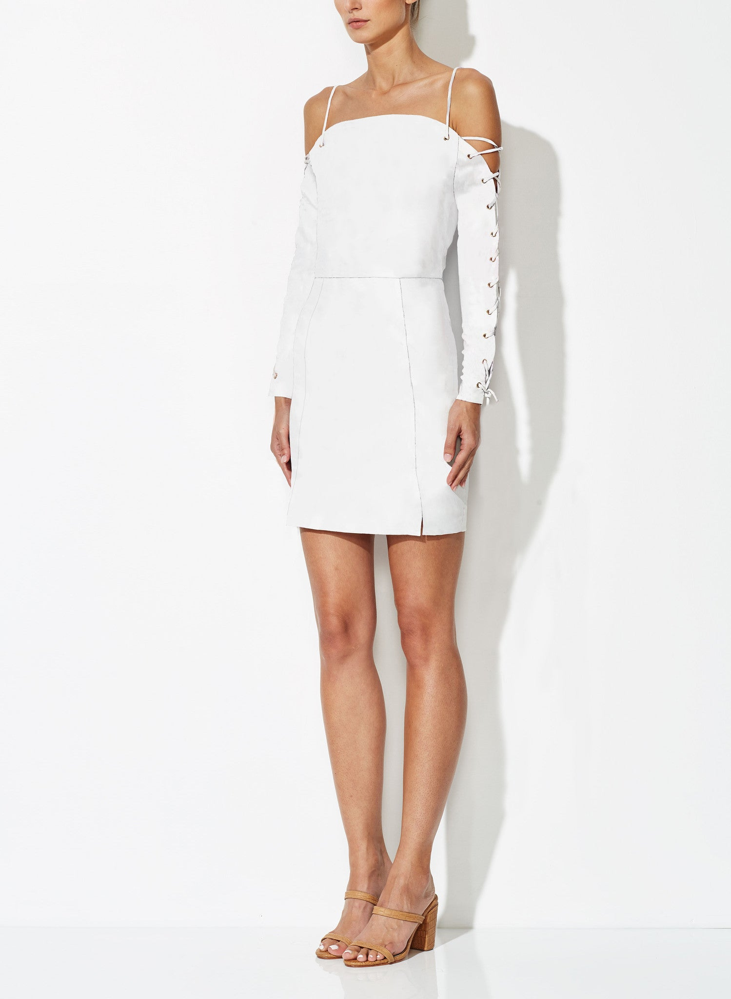 VIOLA CROSS SHORT DRESS WHITE