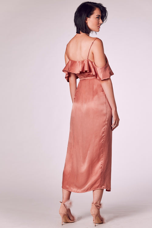 CABANA WRAP MAXI DRESS DUSTY PINK