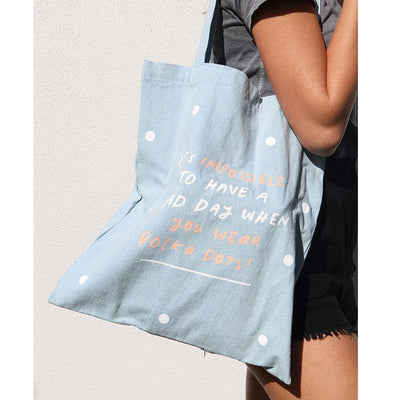 Impossible Polka Denim Tote Bag