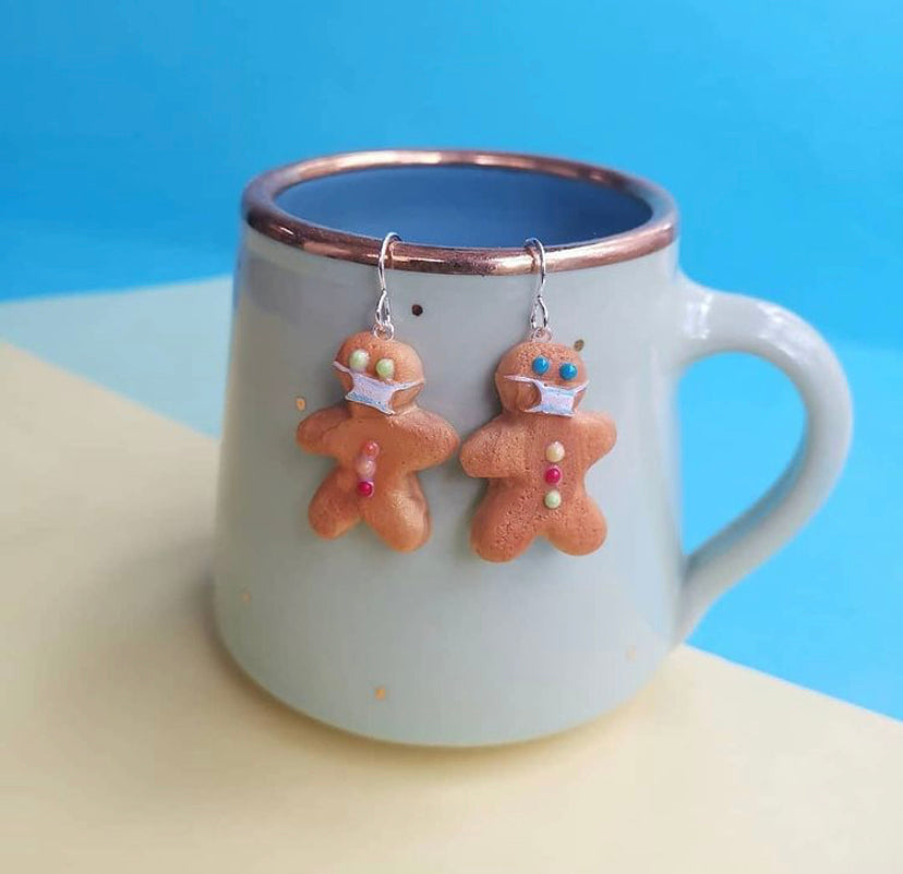 Mask Gingerbread Dangley Earrings
