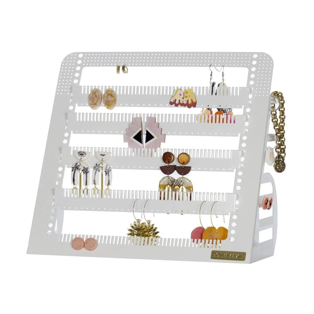 Adjustable Earring & Accessory Holder (Mid White)