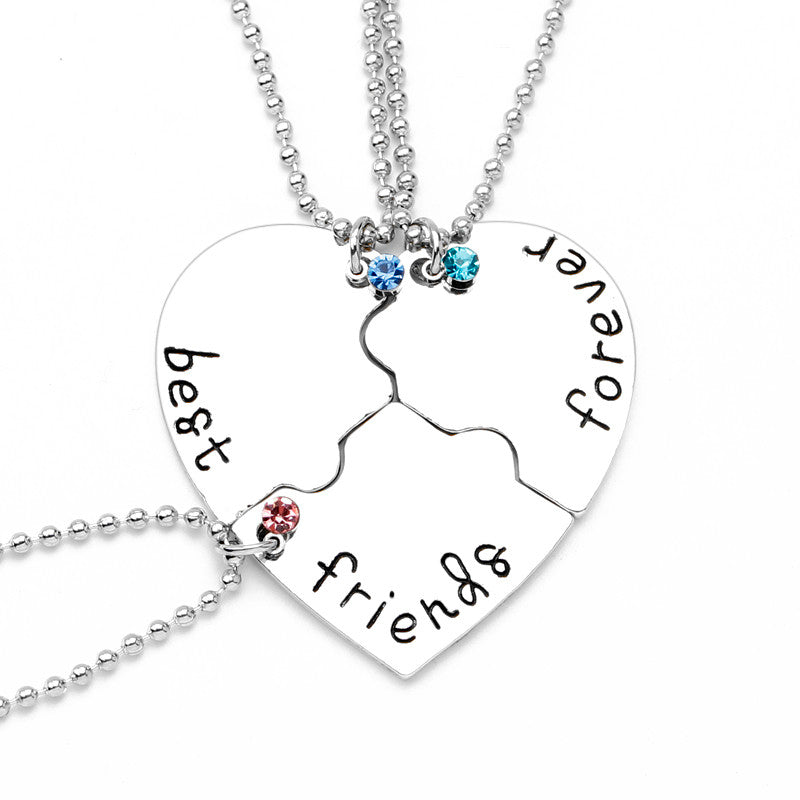Triple Best Friends Charm Necklace