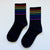 Rainbow Stripe Long Socks (Black)