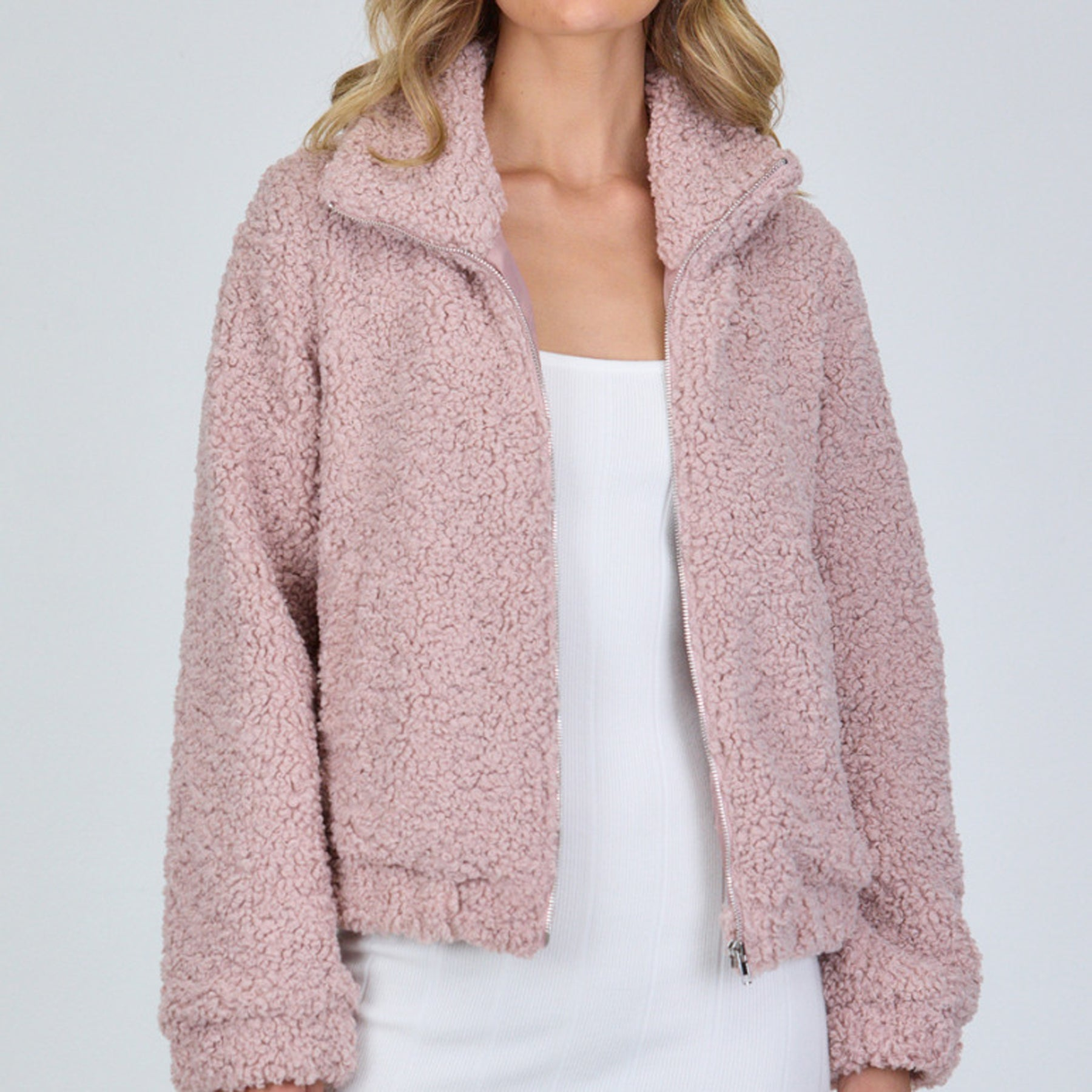 Fluffy Teddy Jacket (Blush)