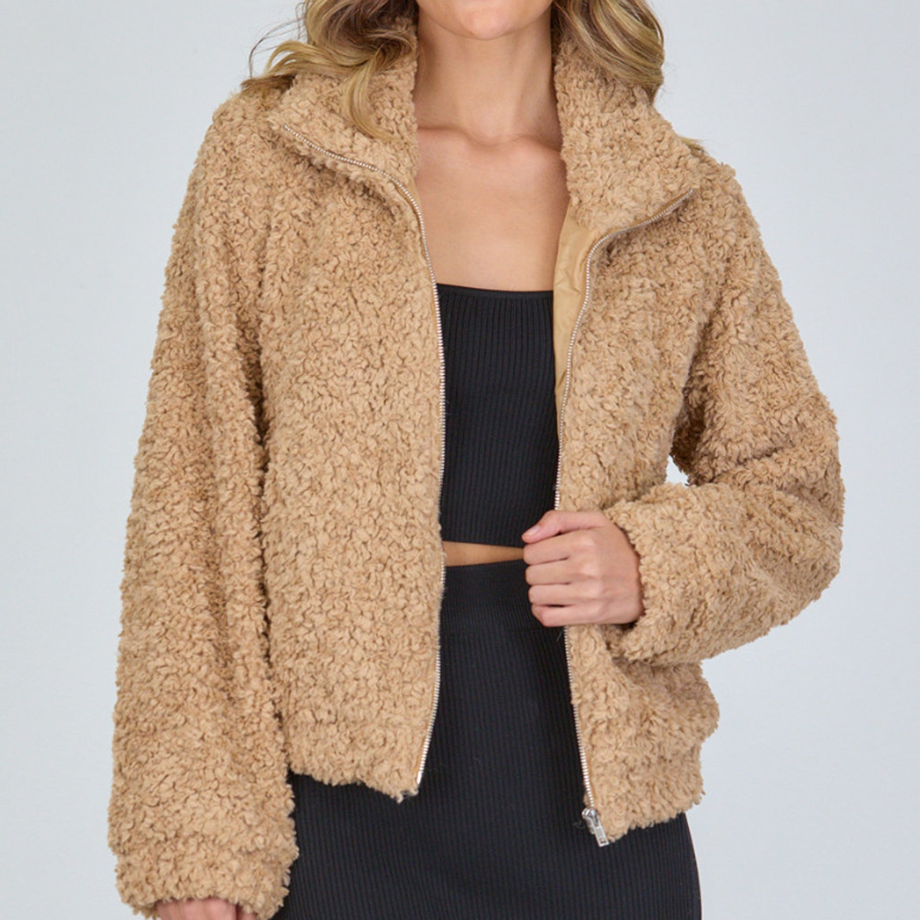 Fluffy Teddy Jacket (Camel)