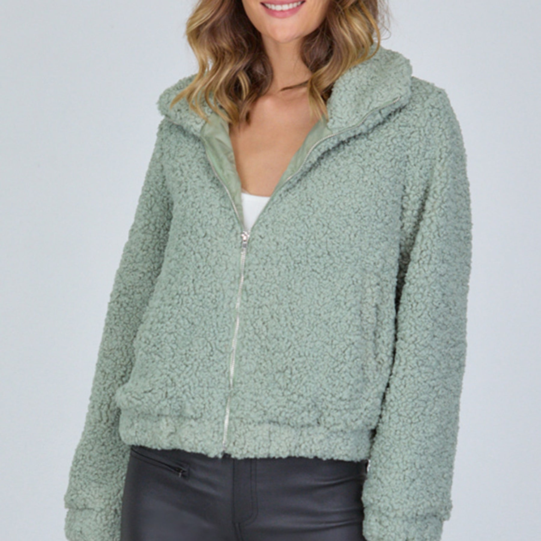 Fluffy Teddy Jacket (Mint)