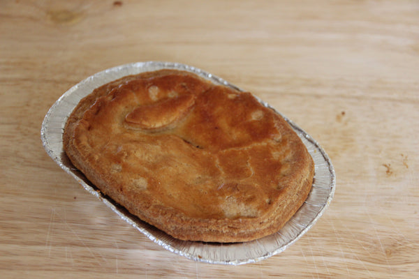 A small steak pie, fresh from our local butcher