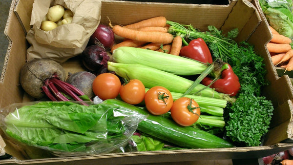 Our salad box, packed with fresh British salad