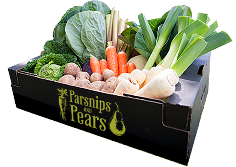 A large vegetable box, filled with fresh, British produce