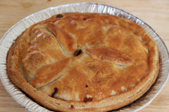 A large steak and kidney pie, fresh from our local deli