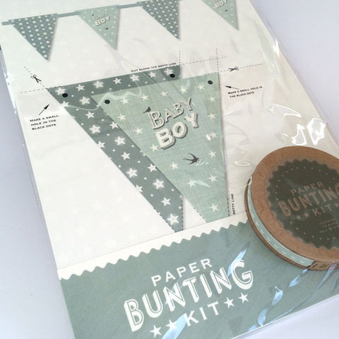 Gorgeous baby boy bunting kit in blue.
