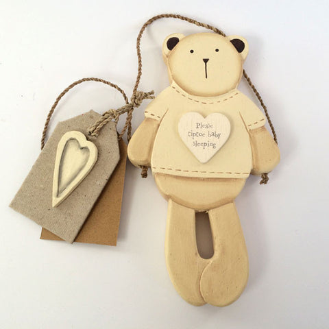 Adorable wooden Bertie Bear - Please Tiptoe wall hanging.