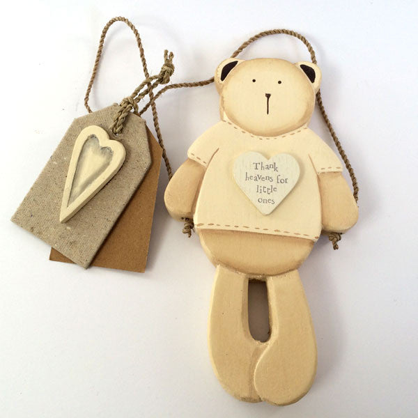 Adorable Bertie Bear - Thank heavens for little ones wooden wall hanging.