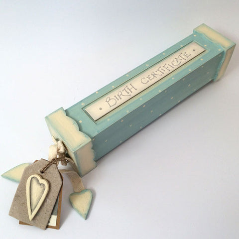 Delightful blue handmade, wooden birth certificate box.