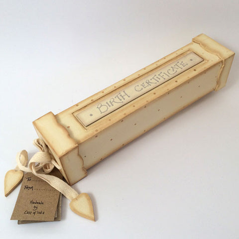 Pretty handmade, wooden birth certificate box in cream.