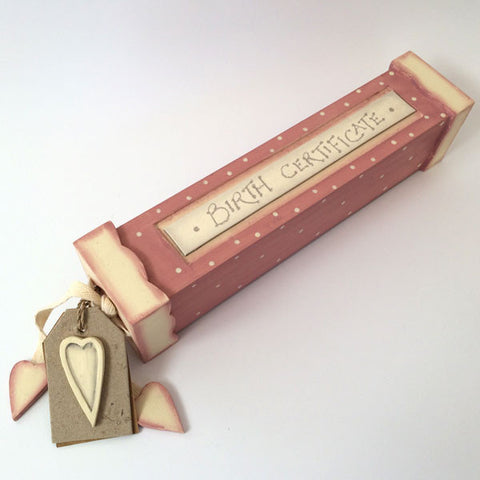 Pretty in pink hand made, wooden birth certificate keepsake box.