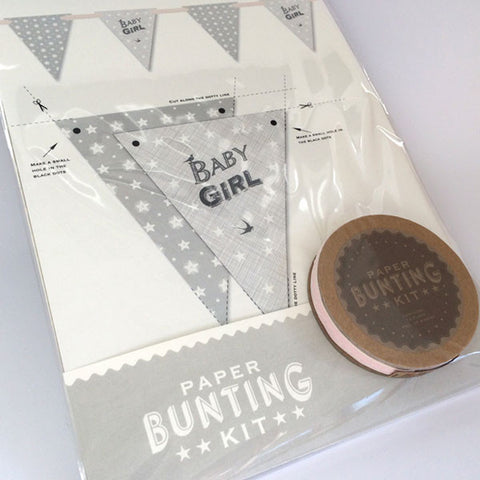 Pretty baby girl bunting kit with pink ribbon.