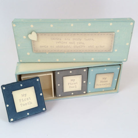 Adorable baby boy keepsake and gift set.