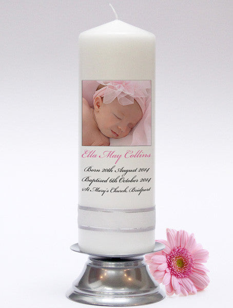 Photo Baby Candle. Adorable keepsakes and gifts. Christening Candles, Baptism Candles & Naming Day Candles. Handmade in UK.
