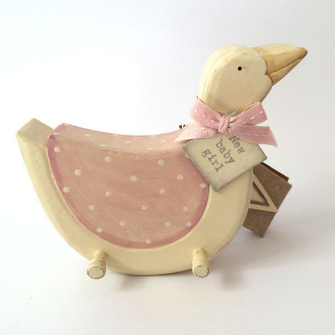Pretty baby girl Goose Pegboard in pink.