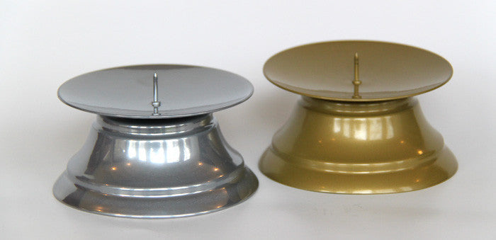 Large Pillar Candle Holder available in silver and gold. Stylish, affordable candle stands.
