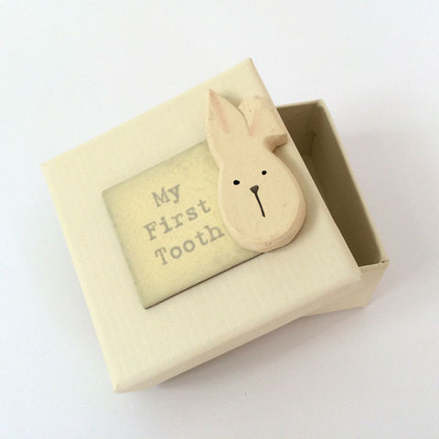 Adorable handmade, wooden My First Tooth Rabbit Keepsake Box.