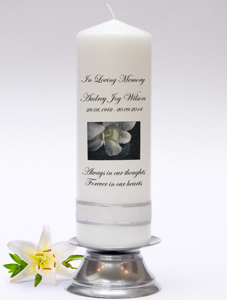 Personalised Memorial & Remembrance Candles with a verse, inscription or poem. In loving memory of lost loved ones.