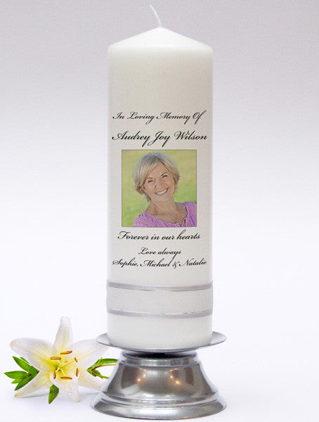 Photo Memorial Candle - beautiful personalised Remembrance Candles & Absence Candles. In loving memory. Handmade in UK.