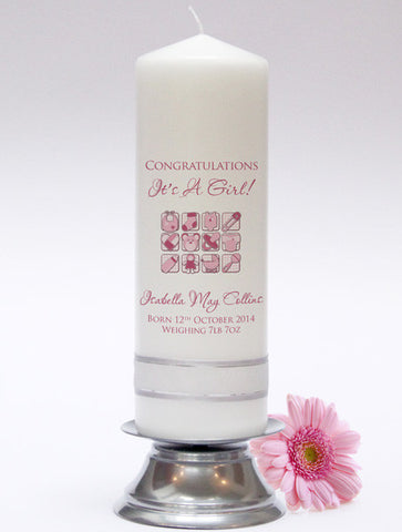 Newborn Baby Candle. Celebrate the birth of a child with this adorable personalised candle. Handmade in UK.