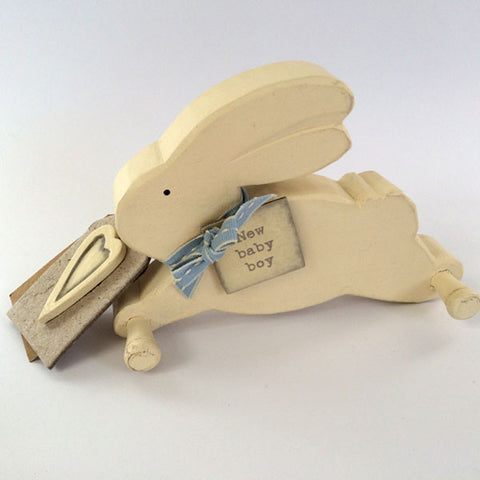 Gorgeous hand made, wooden Rabbit Pegboard for a baby boy.