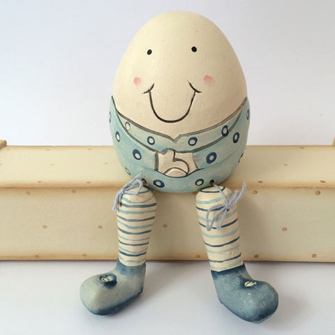 Handmade, wooden Humpty Dumpty in baby blue.