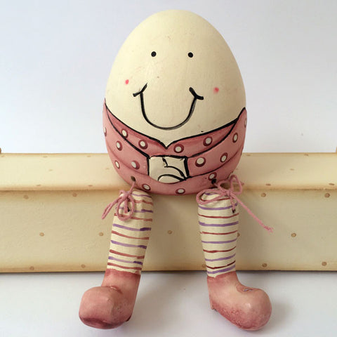 Gorgeous handmade, wooden Humpty Dumpty in pink.