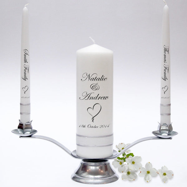Personalised Wedding Candle Taper Set. Classic designs, fully customised and handmade in UK. Unity Candles & Candle Sets.