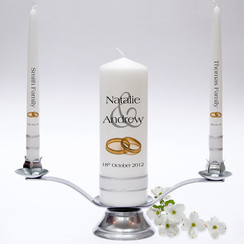 Personalised Wedding Candle Taper Set - Modern Design. Fully customised Wedding Candles, Wedding Candle Sets.
