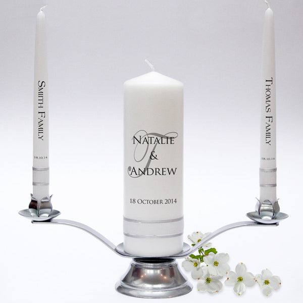 Personalised Wedding Candle Taper Set - Signature Design. A simple, yet elegant design. Handmade in UK by Candles Online