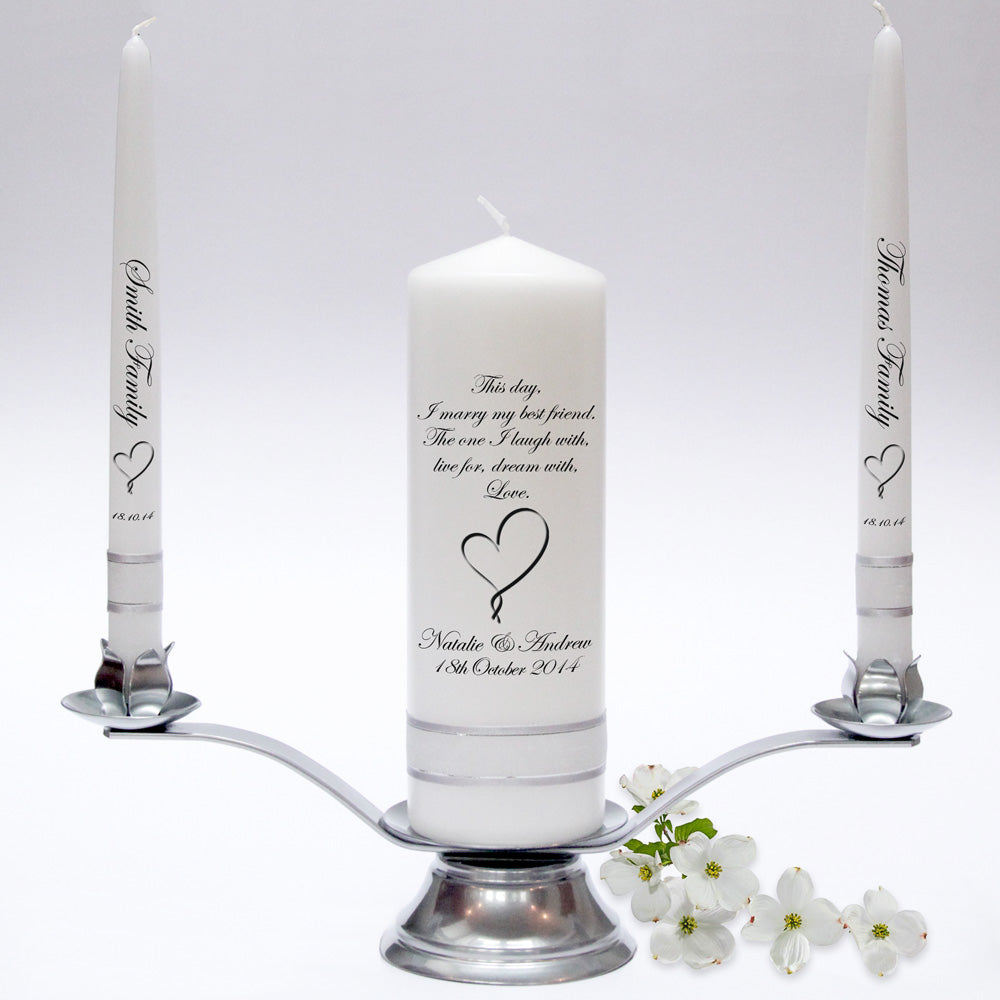 Inscription Wedding Candle Taper Set