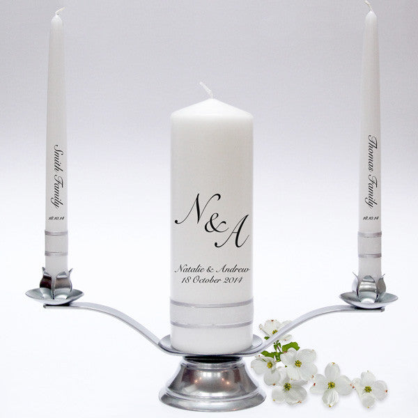 Wedding Candles: Initials Wedding Candle Taper Set