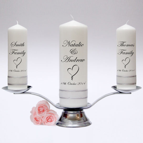Personalised Wedding Candle Pillar Set. Classic designs, fully customised and handmade in UK. Unity Candles & Candle Sets.