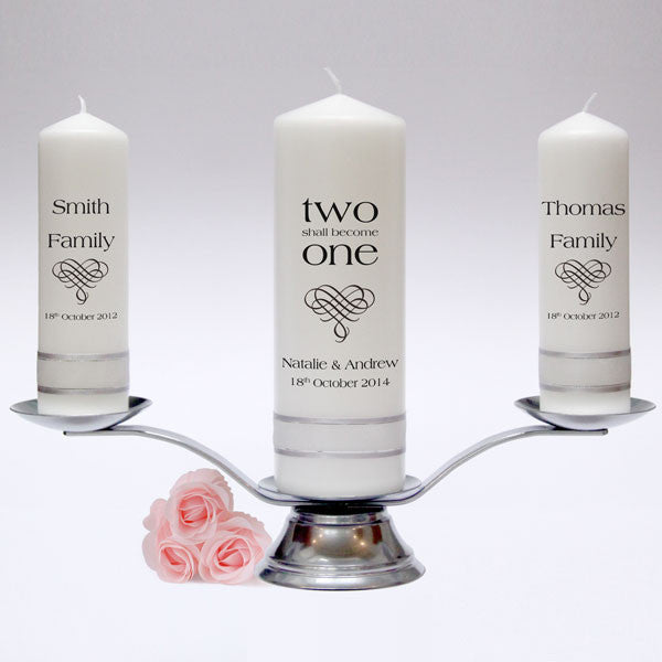 Inscription wedding candle pillar set candles online for Candele on line