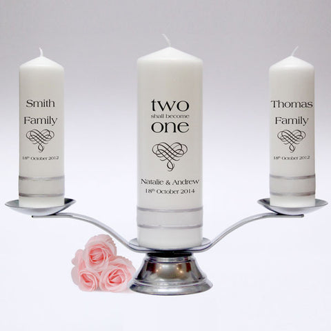 Personalised Inscription Wedding Candle Pillar Set. Customised with a poem or verse of your choice. Handmade in UK.