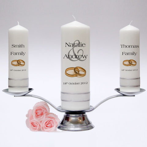 Personalised Wedding Candle Pillar Set - Modern Design. Fully customised Wedding Candles, Wedding Candle Sets. Handmade in UK.
